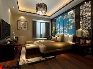 ,200平,40万,中式,四居,卧室,原木色,黄色,