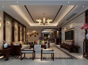 ,200平,40万,中式,四居,客厅,黑白,原木色,
