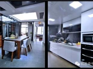 ,130平,30万,现代,三居,餐厅,厨房,白色,