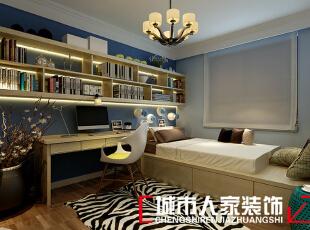 ,90平,7万,现代,两居,卧室,书房,蓝色,