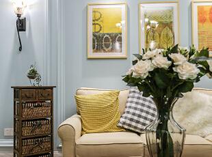 ,105平,25万,混搭,三居,客厅,蓝色,黄色,白色,