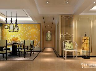 鑫苑鑫城175平方四室两厅新中式风格装修设计效果图--客厅沙发背景装修效果图,176平,16万,中式,四居,餐厅,黄色,