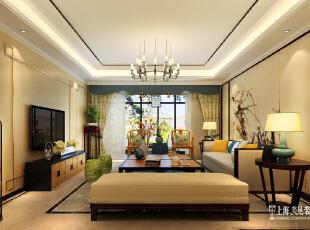 鑫苑鑫城175.99平方4室2厅新中式风格装修设计案例--客厅全景装修效果图,176平,16万,中式,四居,客厅,黄色,
