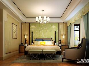 鑫苑鑫城12号楼175平四室两厅新中式风格装修样板间--卧室装修效果图,176平,16万,中式,四居,卧室,黄色,