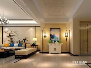郑州鑫苑鑫城176平四室两厅新中式风格装修设计方案--客厅门厅玄关装修效果图,176平,16万,中式,四居,玄关,黄色,