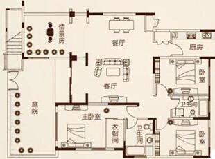 郑州鑫苑景园140平三室两厅美式装修效果图案例——户型平面布局方案,140平,14万,美式,三居,