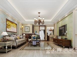鑫苑景园三室两厅清新美式装修140平效果图案例——客厅装修效果图,140平,14万,美式,三居,