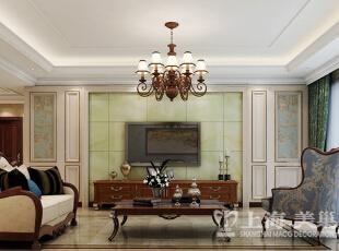 鑫苑景园140平3室2厅美式乡村装修效果图样板间——电视墙效果图,140平,14万,美式,三居,