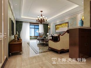 鑫苑景园美式装修140平三室两厅效果图案例——客厅,140平,14万,美式,三居,