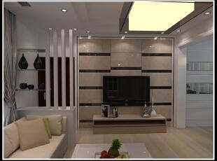 客厅 装修 现代 靯柜隔断 电视背景墙,100平,10万,现代,两居,