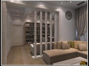 现代 书房 隔断 沙发背景墙,100平,10万,现代,两居,