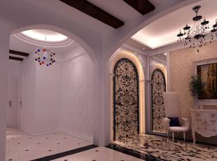 玄关设计: 入厅口处,地面与墙面相连接的精美的石材拼花,通过完美的典线,精益求精的细节处理,更带给家人不尽的视觉美感。,125平,17万,欧式,三居,