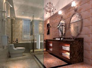 卫生间设计: 舒适的超大浴缸,典雅的欧式浴室柜,古典欧式镜子和简洁有力的铁艺镜框,让欧式卫浴间带有人文色彩。使用别有韵味的亚光砖装饰墙面和地面,营造出古典优雅、温暖踏实的感觉,是打造欧式风格卫浴间的重要手段。,125平,17万,欧式,三居,