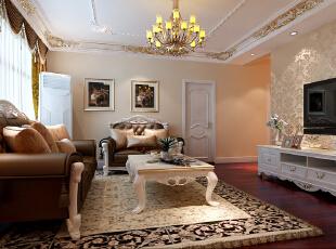 首创伊林郡80简欧两居式-客厅 设计师以简洁明亮的手法,并活用建材来放大小平米数的视觉感,用白色系,极简中带有低调奢华,成功诠释出空间表情。,80平,7万,欧式,两居,客厅,现代,简约,白色,黄色,