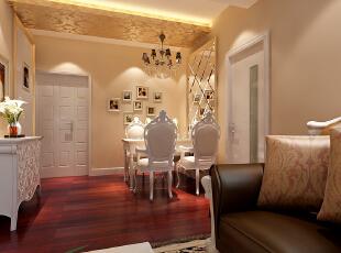 首创伊林郡80简欧两居式-餐厅,80平,7万,欧式,两居,玄关,餐厅,现代,简约,白色,原木色,黄色,