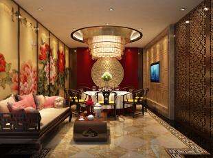 不少墙壁的装饰方面我们都从中提炼出多个不同的牡丹元素,或水墨写实,或花瓣造型等,1500平,450万,中式,公装,