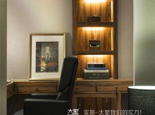 主卧室书房细节特写,260平,60万,现代,复式,书房,中式,黄色,