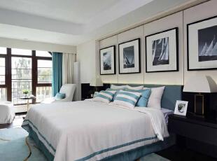 设计清雅简洁,更加简化了现代中式的繁琐。,整个房间颜色创造一种经典的海洋外观,400平,50万,现代,别墅,卧室,
