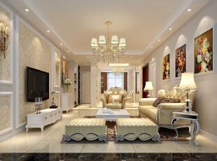 检察院家属院180平简欧风格装修效果图—客厅设计,180平,15万,欧式,四居,客厅,