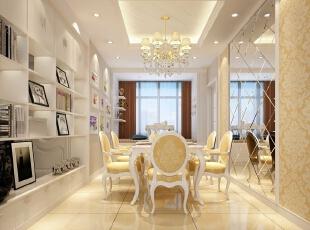 检察院家属院180平简欧风格装修效果图—餐厅设计,180平,15万,欧式,四居,餐厅,