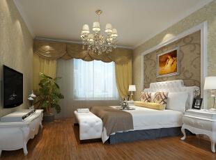 检察院家属院180平简欧风格装修效果图—卧室设计,180平,15万,欧式,四居,卧室,