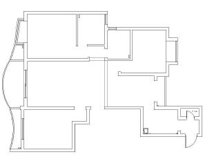 检察院家属院180平简欧风格装修效果图—原始户型图,180平,15万,欧式,四居,