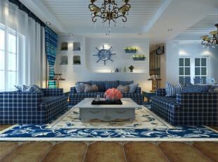 沙发背景墙以白色为主,蓝色来点缀。整体的造型,给人一种行驶在大海上的感觉。,120平,12万,地中海,三居,客厅,蓝色,