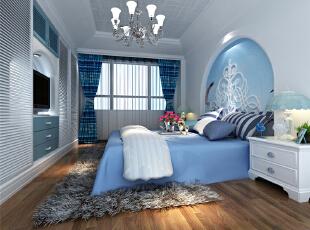 ,120平,12万,地中海,三居,卧室,蓝色,