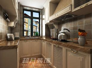 白色的橱柜柜体,咖色的大理石台面,金色的把手,整个厨房空间不仅仅美观更是充满了温馨氛围。,89平,10万,美式,两居,厨房,