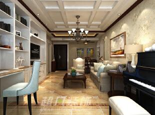 整个客厅空间充满了时尚与浪漫的气息,电视背景墙的设计也是别出心裁,不仅仅为居家添加了很多的收纳与展示的空间,更是让空间更显整洁统一,我们仿佛能听到黑白跳跃的音符在空间弥漫。,89平,10万,美式,两居,客厅,餐厅,