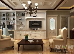 在设计师巧手布置下,小小的书房空间与客厅完美的融合在一起。,89平,10万,美式,两居,