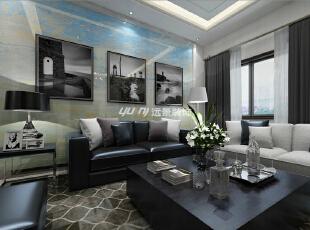 沙发背后的现代画作,与客厅相得益彰。,360平,100万,简约,别墅,