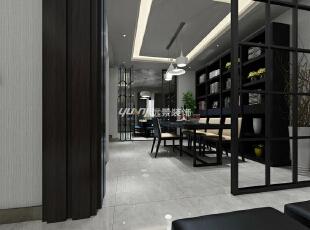 透过方格屏风看得到整个餐厅,黑色的桌椅,背后一排书架,闲暇之余还可以看看书,难得在家还能找到图书馆的感觉!,360平,100万,简约,别墅,餐厅,