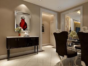 餐厅设计以明亮为主,地板砖的斜向铺法,给人以一种清新的视觉体验,整体空间在无拘无束中又不失高贵大方和典雅。,122平,10万,欧式,三居,