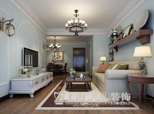 郑州望湖花园89.79平方两室两厅美式乡村装修效果图--入户门厅,美式,两居,望湖花园,装修,望湖花园户型图,客厅,