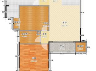望湖花园89.79平方两室两厅美式乡村装修户型图,89平,8万,美式,两居,望湖花园户型图,装修,设计,