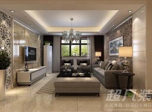客厅空间对称的背景墙,大理石材与咖色枝蔓花纹壁纸,为简约的空间添加了温馨时尚感。,130平,14万,现代,三居,客厅,