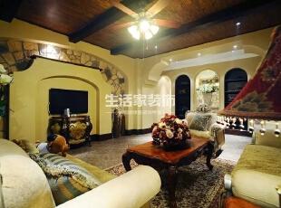 ,420平,56万,别墅,美式,客厅,黄色,