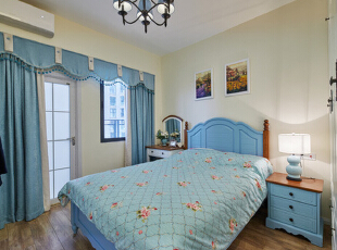 ,95平,13万,田园,三居,卧室,白色,蓝色,