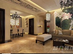 走廊过道极具中式元素的雕花造型,行走其下,彷如在现代与古代之间穿梭。,110平,10万,中式,三居,玄关,客厅,黄色,