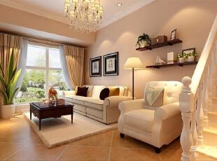 简约大方的整体布局,简单的石膏线勾勒与地面家具协调统一。,120平,9万,现代,两居,客厅,黄色,