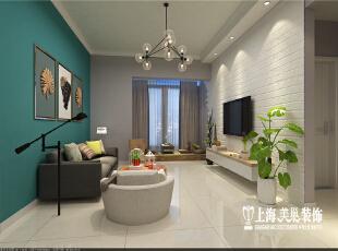 国龙绿城怡园88平方2室2厅北欧风格装修效果图--客厅全景,设计以具极简美感与自然氛围的北欧风为空间设计,整体运用自然素材包围空间,并加以中性灰色元素勾勒出原始干净的空间感。,89平,6万,欧式,两居,客厅,绿色,