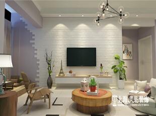 国龙绿城怡园88平方两室两厅北欧风格装修样板间--电视背景墙,通过文化石的粗糙纹理,与造型的拼接,创造出更自然随性的电视背景。,89平,6万,欧式,两居,客厅,白色,