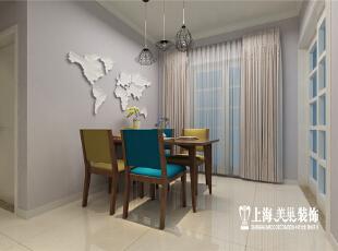 郑州国龙绿城怡园88平方北欧风格装修设计方案--餐厅,整体墙面的灰色漆加以世界地图的白瓷拼接,是整个空间更有人文化的气息。,89平,6万,欧式,两居,餐厅,白色,