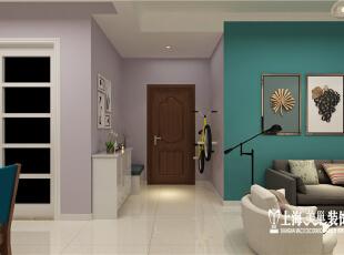 国龙绿城怡园1号楼88.93平方两室两厅北欧风格装修设计案例--门厅装修效果图,89平,6万,欧式,两居,玄关,紫色,