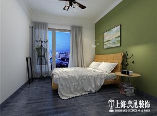 国龙绿城怡园D2户型89.14平两室两厅北欧风格装修样板间--卧室装修效果图,主卧背景用带灰的芥末绿,一来饱和度高德颜色强化视觉印象,二来也能营造更放松的空间。,89平,6万,欧式,两居,卧室,绿色,