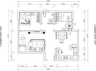 郑州国龙绿城怡园1、2、4号楼88.93/89.14平方D2户型两室两厅户型图--平面布局方案,89平,6万,欧式,两居,