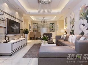 客厅的选材与色彩搭配,增加了空间的层次感,加强了空间与自然的互动。,130平,12万,简约,四居,客厅,餐厅,白色,