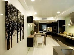 厨房 黑白灰的经典搭配 设计理念:经典的黑白灰  搭配,让原本大家都不喜欢进厨房做饭的人会瞬间爱上这里,彷佛这里是用来享  受的,并不是充满了油烟的地方。,280平,70万,现代,别墅,厨房,黑白,