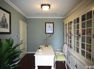 不管是客厅的翠绿 宝石蓝 墙面的薄荷绿 还是靓丽的翠色 都让人心旷神怡,书房,现代美式,成都设计,四居,80后,蓝色,白色,